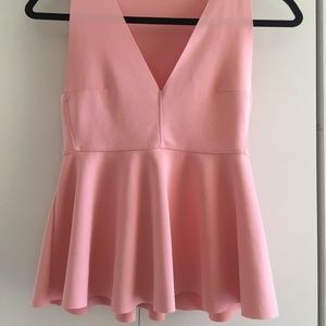 Zara Light Pink Peplum Top